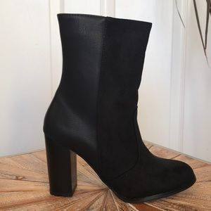 NWT JustFab Black Faux Leather&Faux Suede Booties